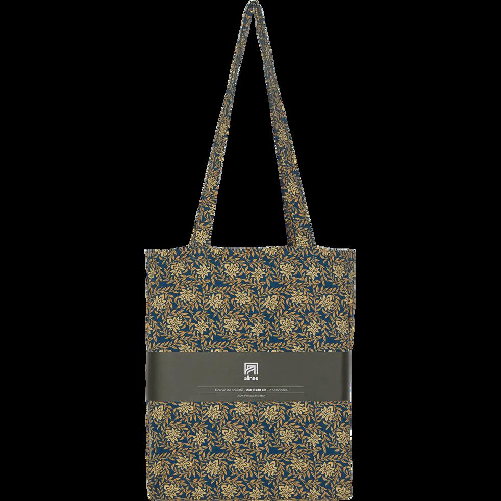 Housse de couette en percale de coton 260x240cm - doré et bleu figuerolles-LIVIA