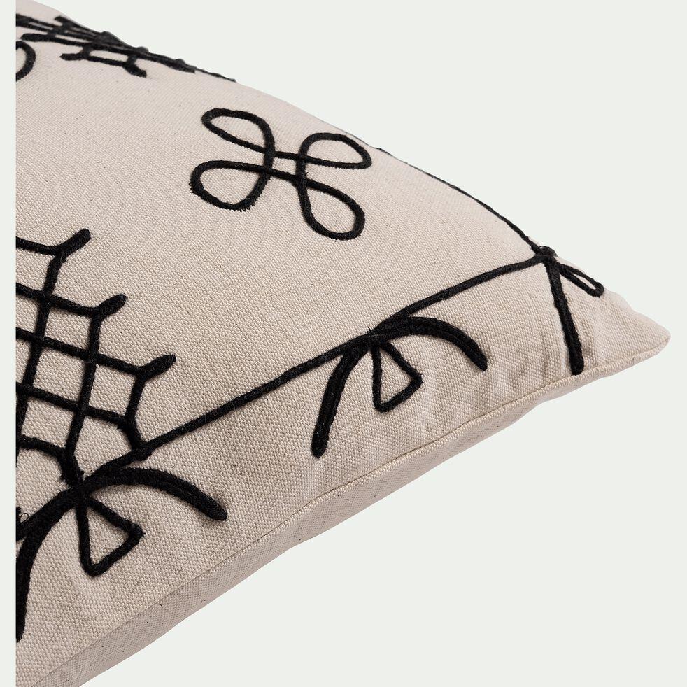 Coussin inspiration berbère brodé en coton - blanc écru 40x60cm-EGYPTIAN