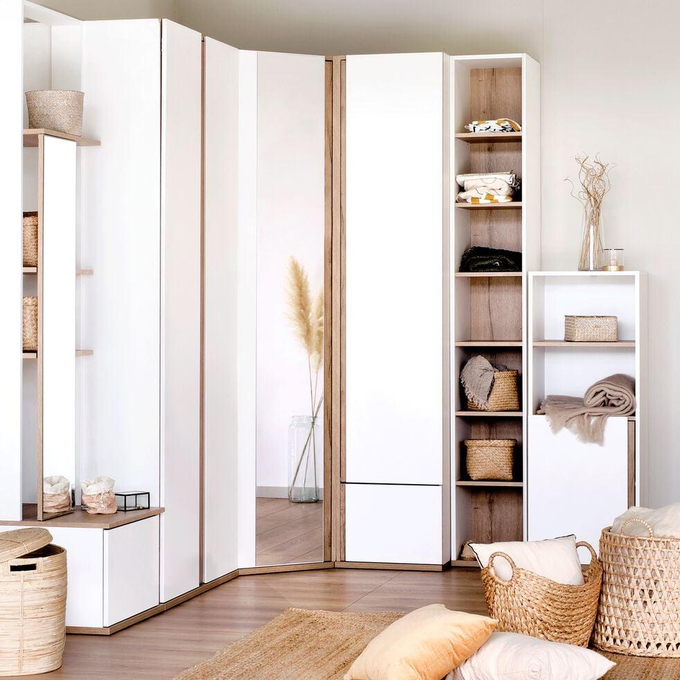 Armoire de dressing 2 portes battantes effet chêne blanc-NESTOR