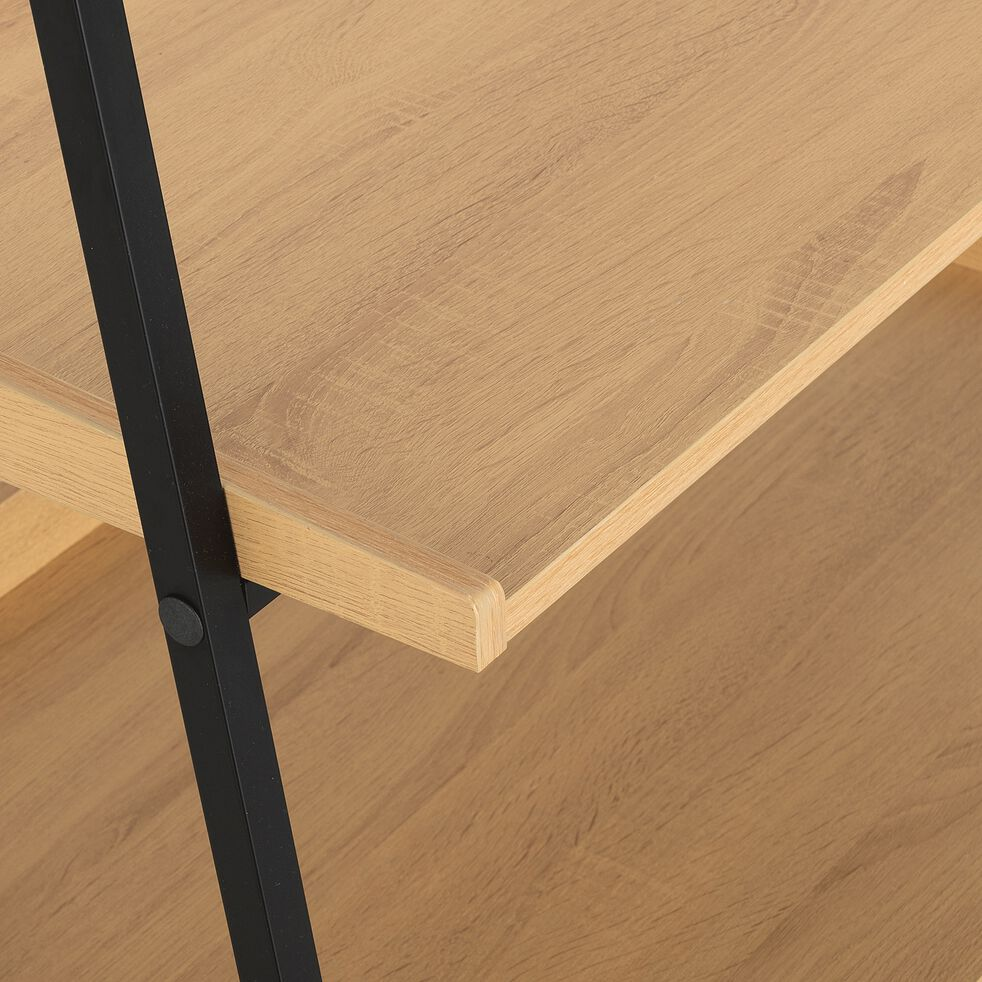 Penderie ouverte à 2 étagères en acier et bois - naturel-HENRY