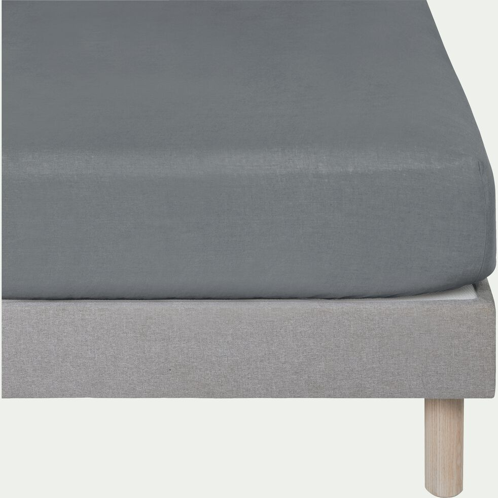 Drap housse en lin - gris restanque 90x200cm B28cm-VENCE