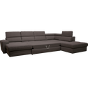 Canapé d'angle en U convertible en tissu anthracite avec méridienne à gauche-TONIN