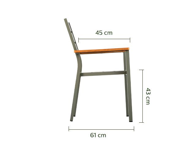 Fauteuil empilable en aluminium vert cèdre-ALEP