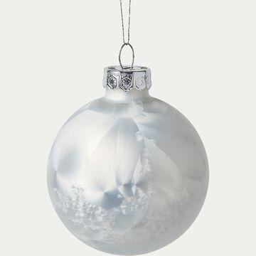 Lot de 10 boules de Noël blanc givré D6cm-ROCH