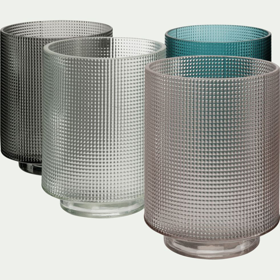 Photophore en verre piqué - gris D7xH8cm-Axios