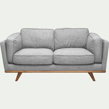 Canapé 2 places fixe en tissu gris chiné clair-ASTORIA