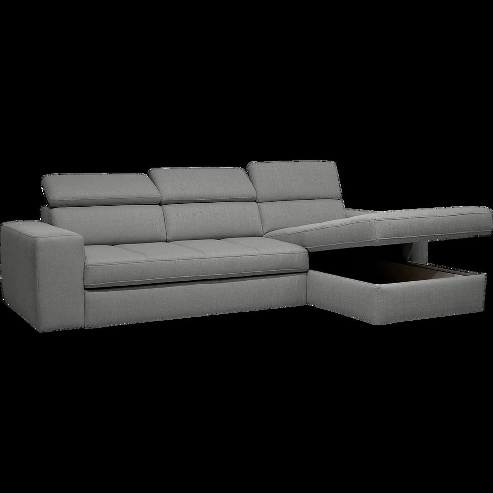 Canapé d'angle droit convertible en tissu gris clair-TONIN