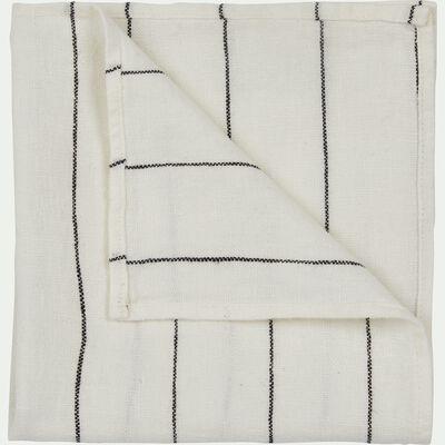 Serviette de table rayée en lin blanc 41x41cm-BORSALINO