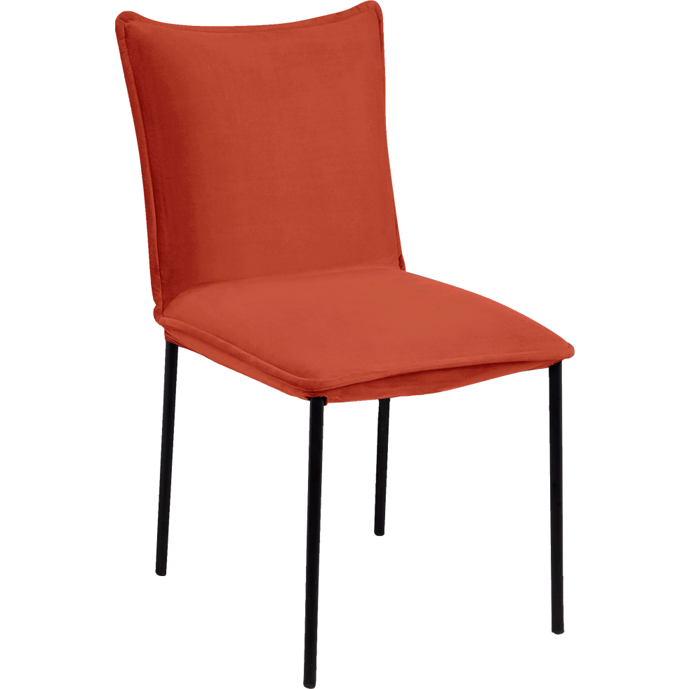 Chaise rembourrée en velours ocre-LISON