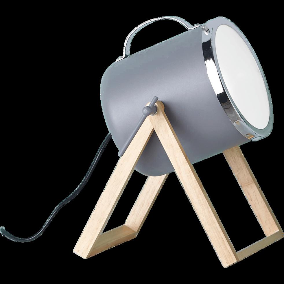 lampe poser forme projecteur en bois et m tal gris h38. Black Bedroom Furniture Sets. Home Design Ideas