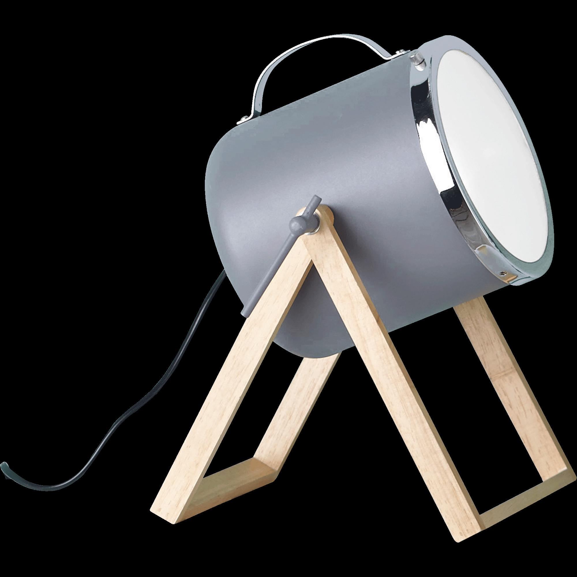 Lampe à Poser Forme Projecteur En Bois Et Métal Gris H38,5cm SUMMER