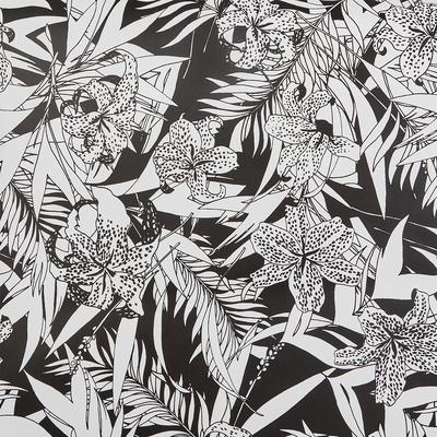 papier peint intissé motif orchidée noir et blanc 53cm x 10m-ORCHIDEE