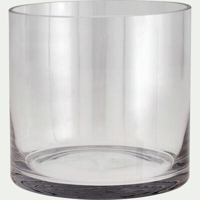 Vase tube en verre épais - transparent H17cm-SABBIA