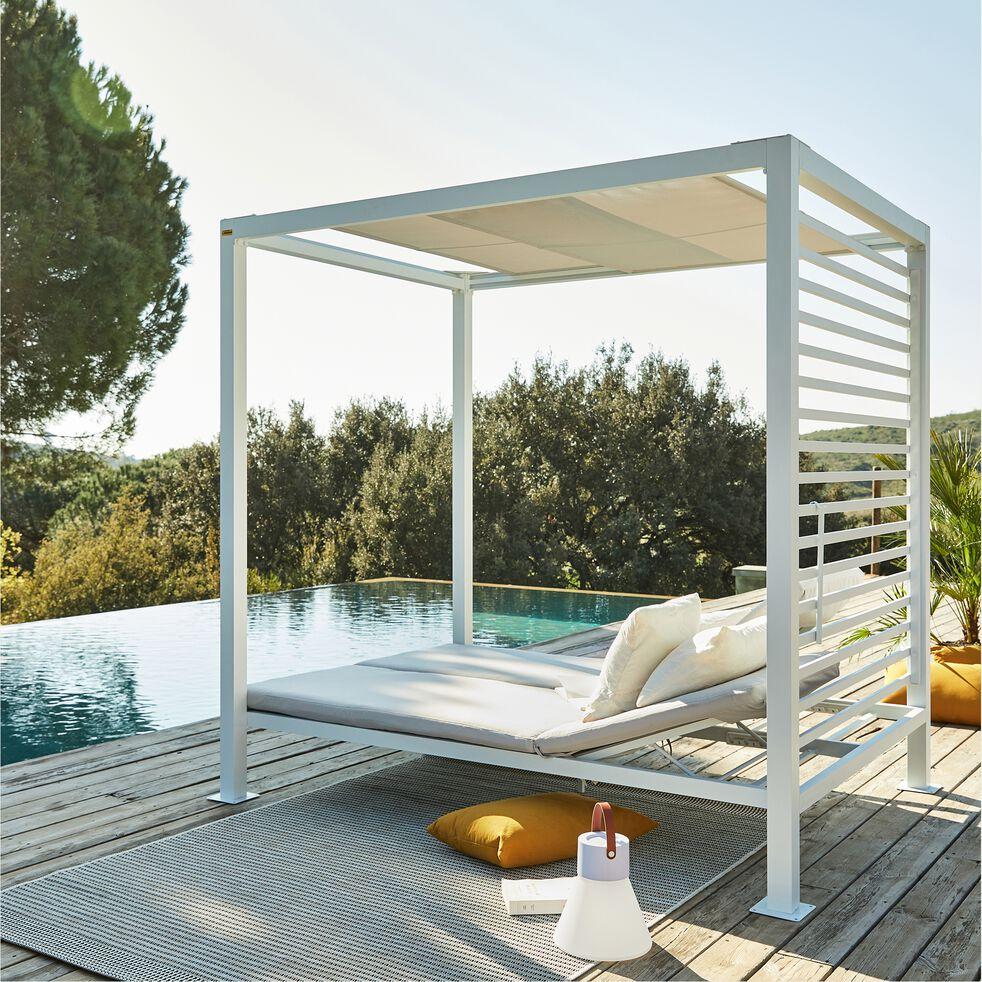 Lit de piscine avec coussins - blanc-CAMA