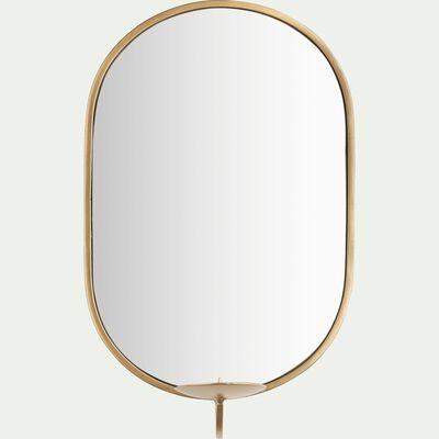 Miroir et porte-bougie dorés H30cm-SIRIUS