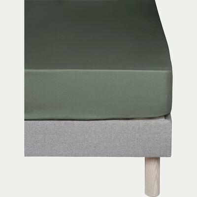 Drap housse en coton - vert cèdre 140x200cm B30cm-CALANQUES