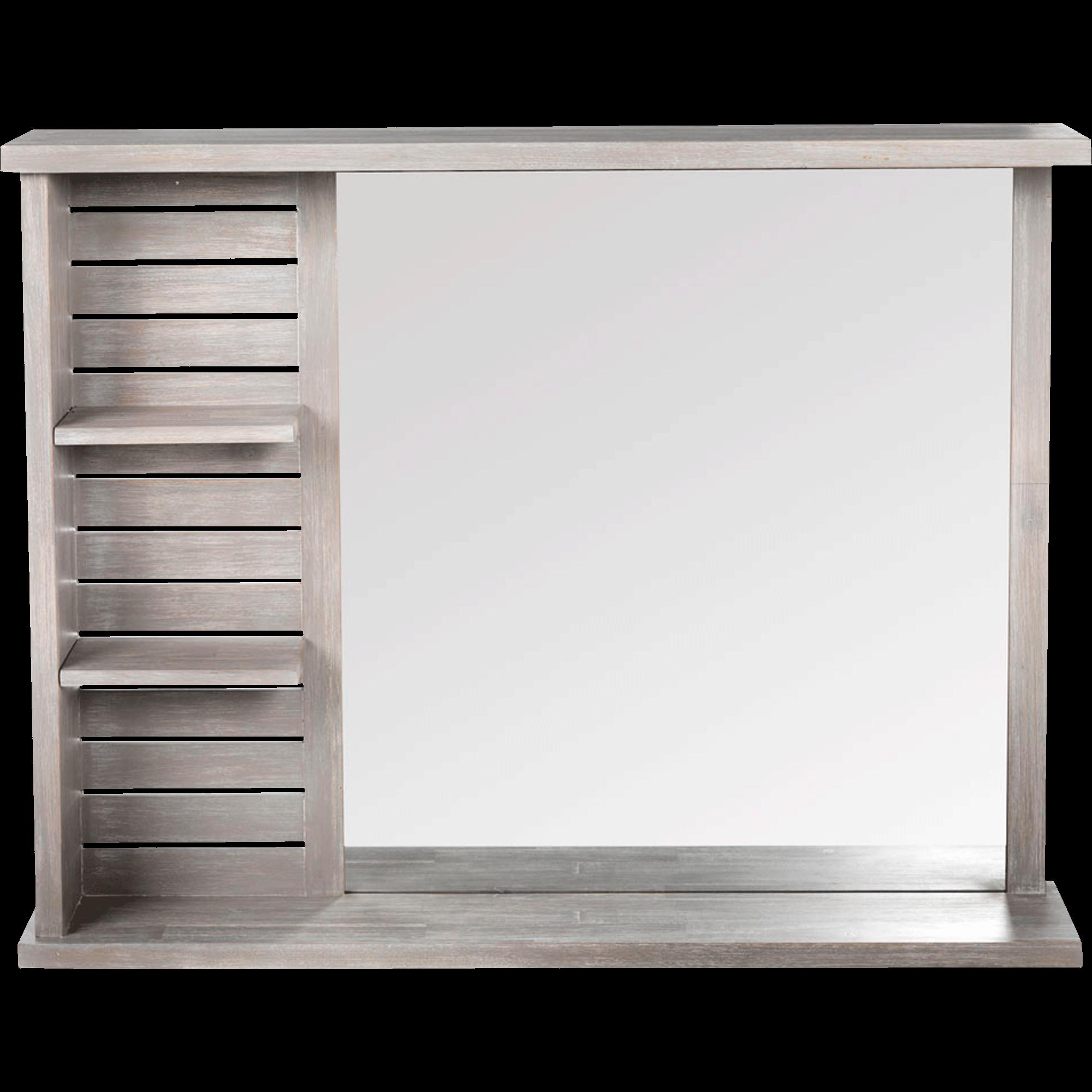 Miroir Rectangulaire De Salle De Bains Avec Tablettes En épicéa 90cm Marine