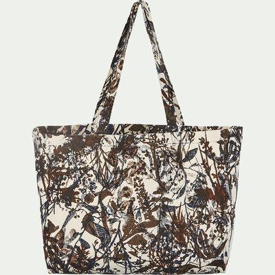 Sac en coton motif floral - marron 60x42x18cm-Eigarella
