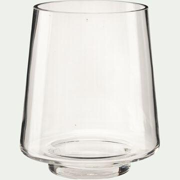 Vase conique fait-main en verre - transparent D14xH16cm-POLYGALA