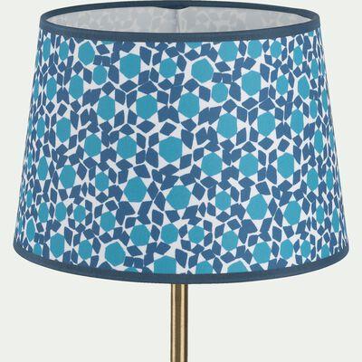 Abat-jour tambour en tissu à motifs bleus D23cm-ZELIGES