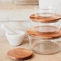Boîte ronde en verre avec couvercle en bois D18,6cm-SAPAN