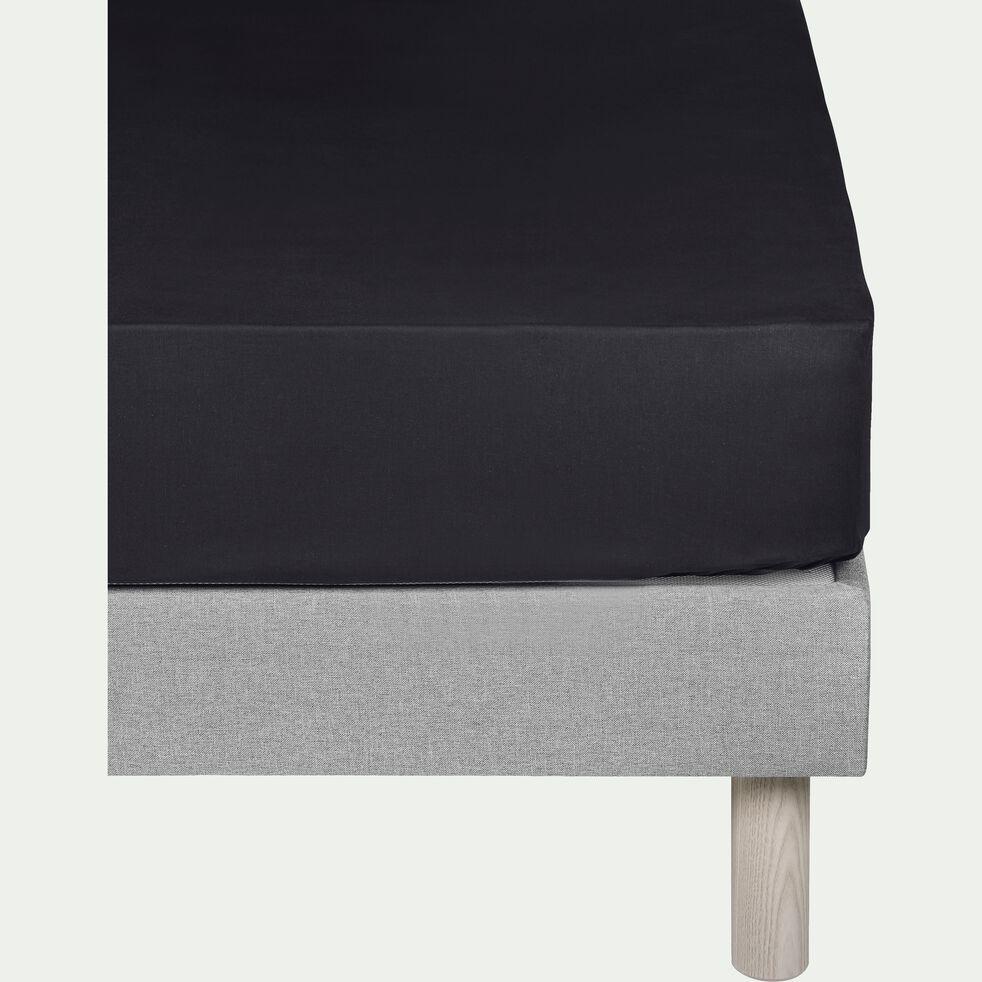 Drap housse en coton - gris calabrun 160x200cm B30cm-CALANQUES