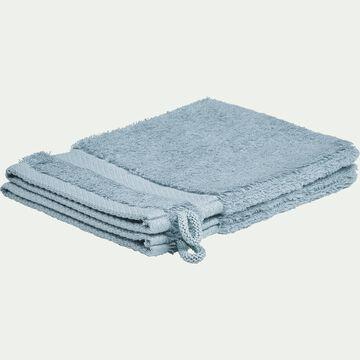 Gant de toilette en coton peigné - bleu calaluna-AZUR