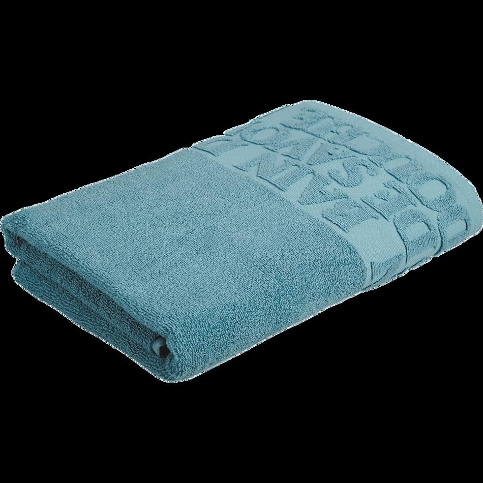 Drap de douche 70x140cm à liteau bleu-BULLY