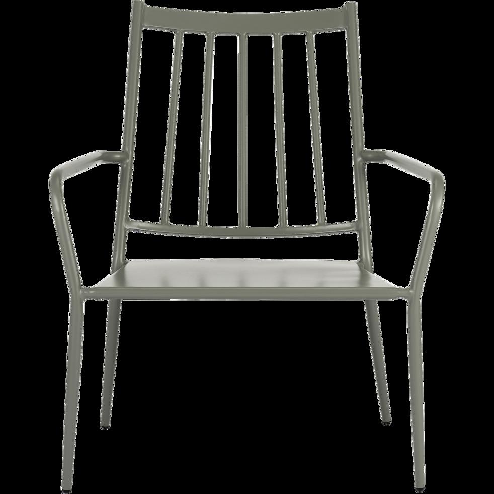 Fauteuil de jardin en acier vert olivier - ARGELES - fauteuils de ...