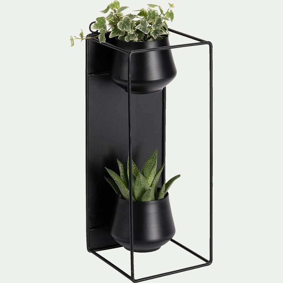 Porte-plante en métal - noir L15xl15xH39cm-ANGHJULINA