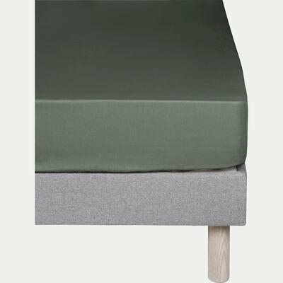 Drap housse en coton Vert cèdre 180x200cm -bonnet 30cm-CALANQUES