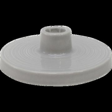 Bougeoir en céramique gris H5cm-PILEA