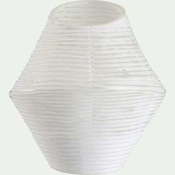 Vase strié asymétrique en verre - blanc H24cm-MATIJA