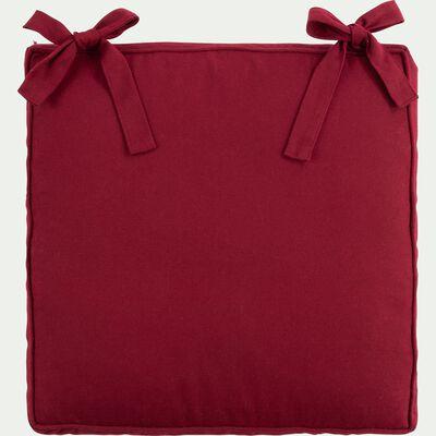 Galette de chaise à nouettes en coton - rouge sumac 38x38cm-BORMES