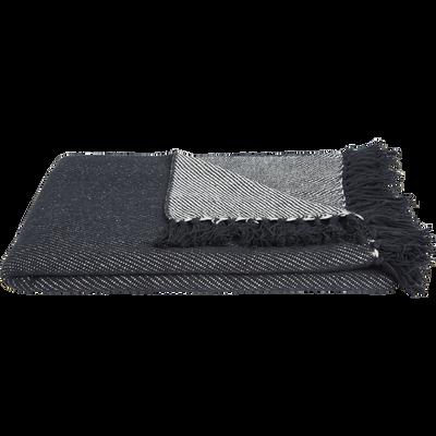 Plaid à franges en coton tissé bleu 130x170cm-SEVILLE