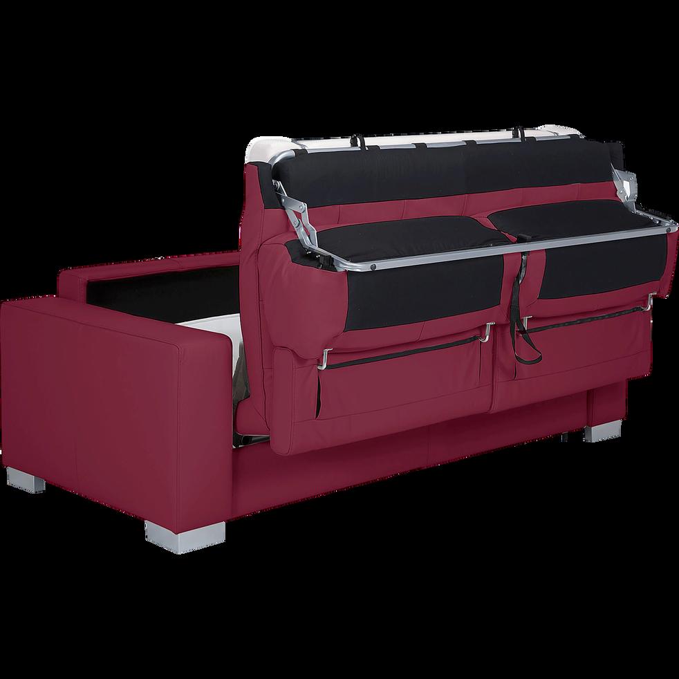 Couleurs variées 49bbb a730a Mauro - Canapé 3 places convertible en cuir de buffle rouge