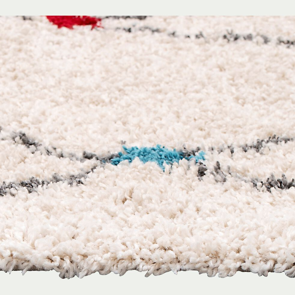 Tapis à motif d'inspiration berbère - blanc et noir 160x230cm-AZULI