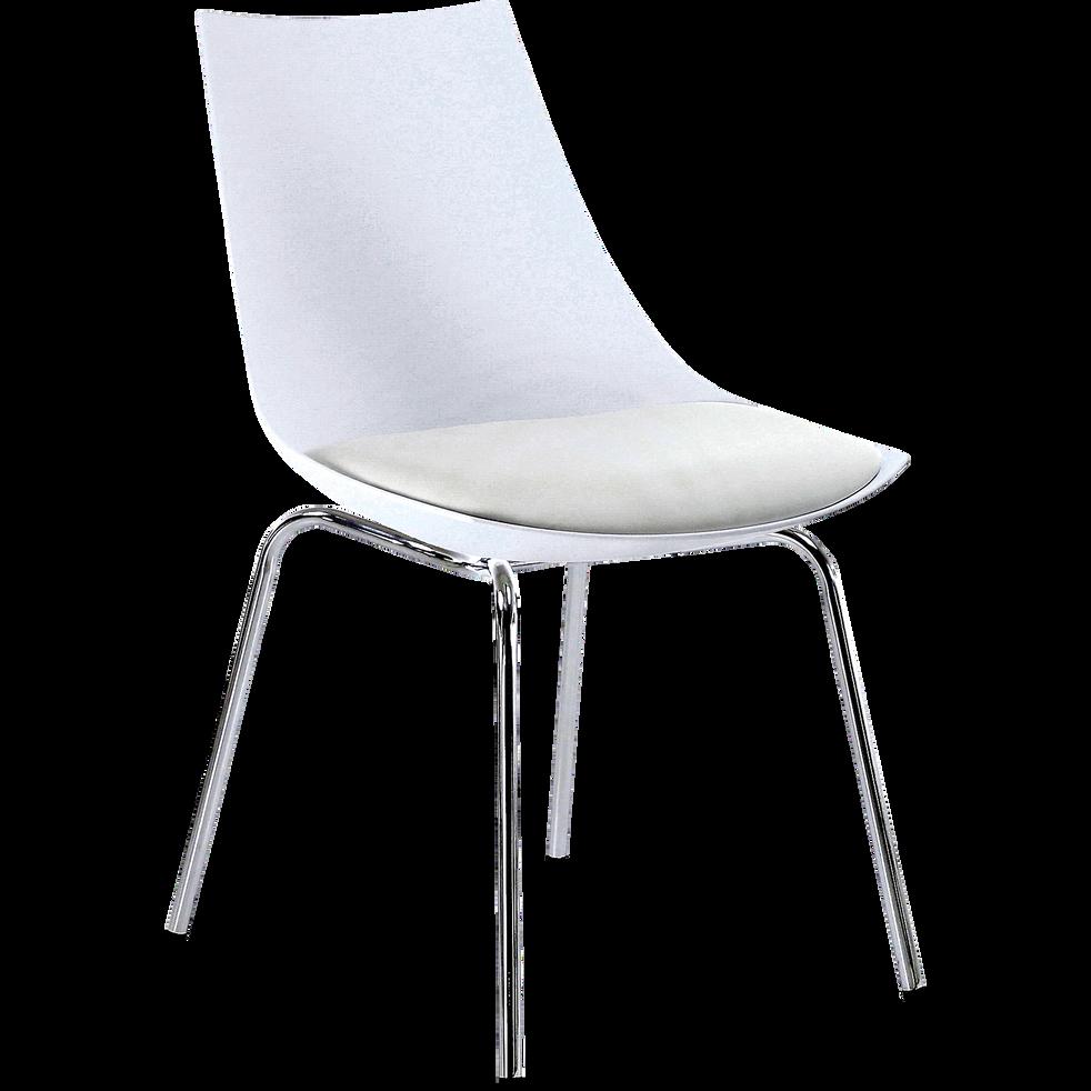 Chaise Blanche Avec Pietement Metal Chrome JOY
