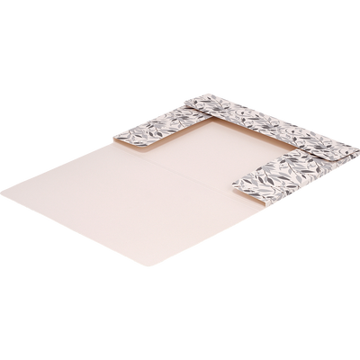 Pochette à rabat en carton avec élastique pour format A4 motif fleurs d'oranger-ORANGER