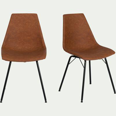 Chaise vintage en simili -  marron-BERANGERE