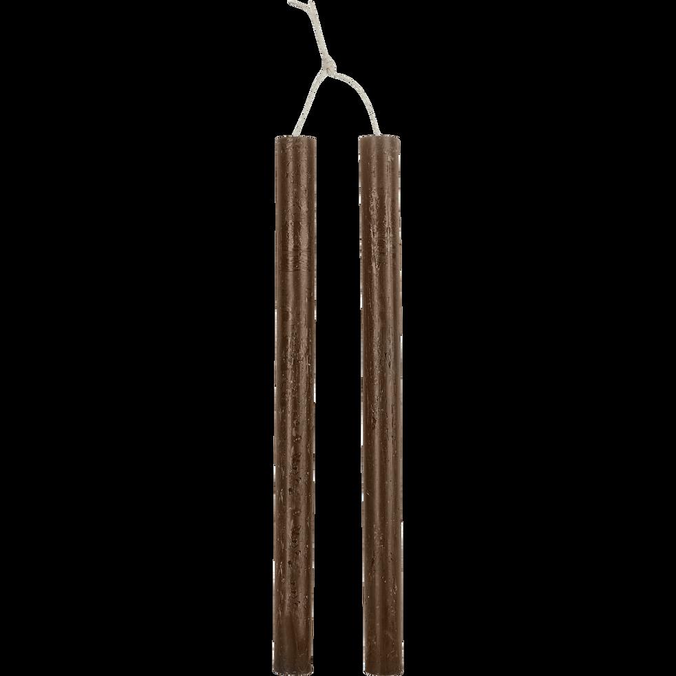 Bougie duo de flambeaux brun ombre D2xH30cm-BEJAIA