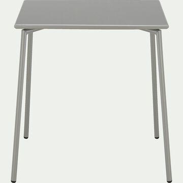 Table de jardin carrée en métal - gris restanque (4 places)-Ligia