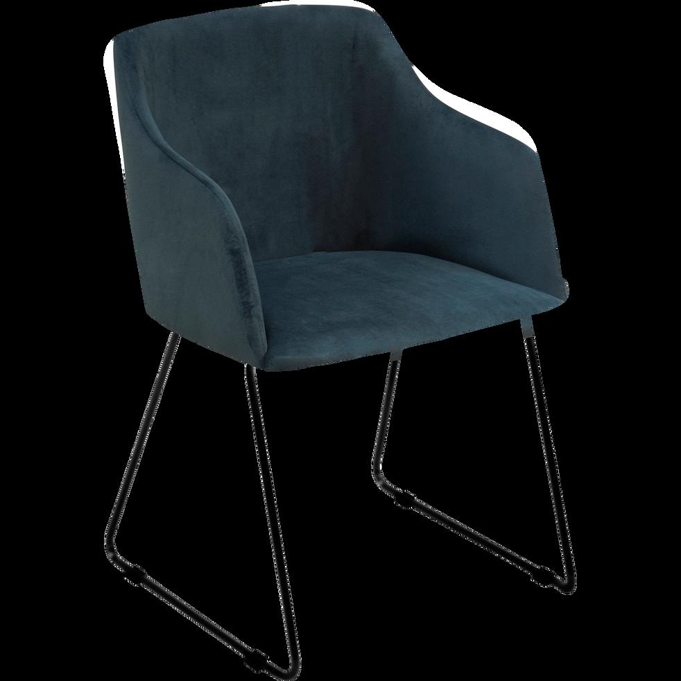 Chaise en velours bleu canard avec accoudoirs-CELESTE