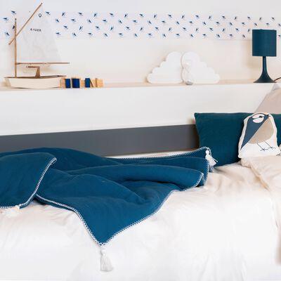 Plaid en gaze de coton 100x150 cm bleu figuerolles-AZALEE