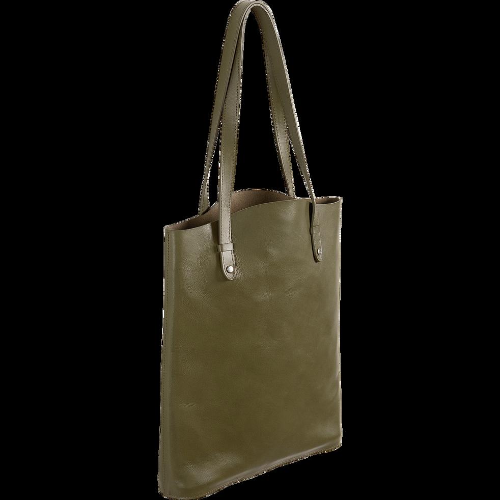 Tote bag en cuir vert cèdre H39x32,5cm-EUGENIE