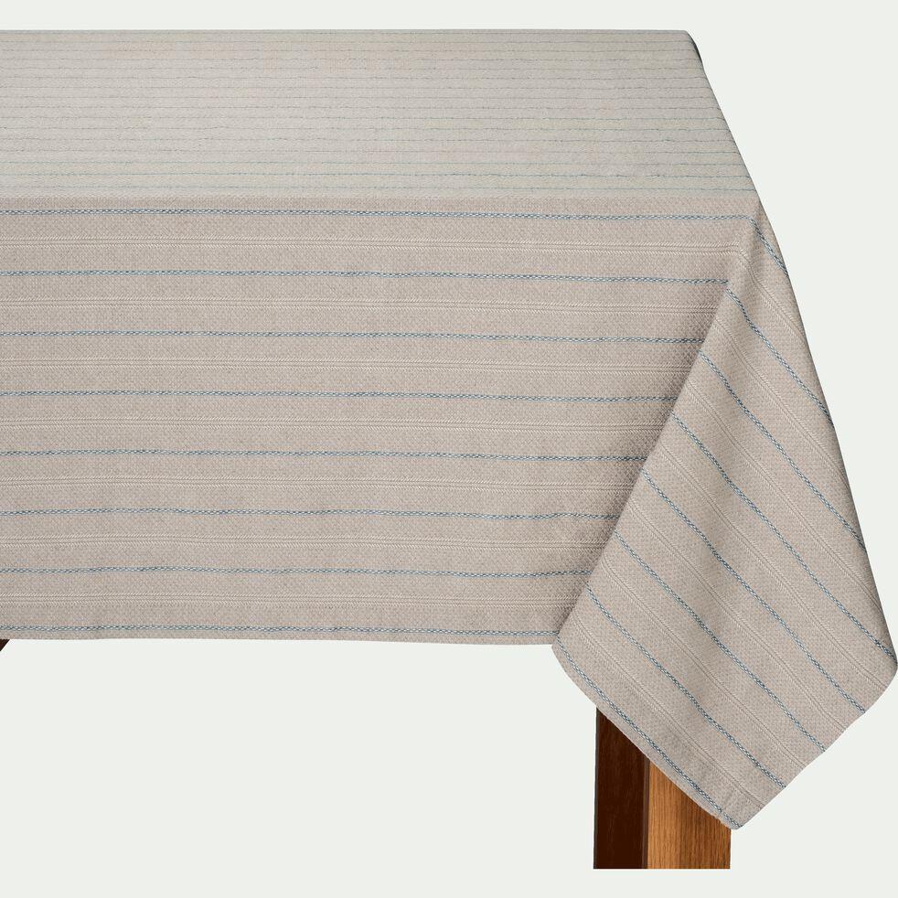 Nappe en lin et coton à motifs bleu figuerolles 170x250cm-NAIS