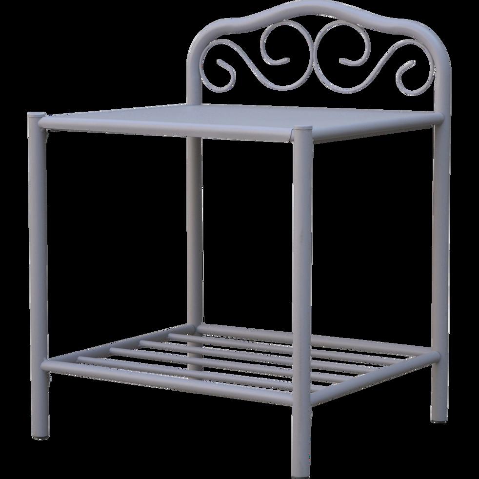 Table de chevet en acier Gris Lavande-CELESTE
