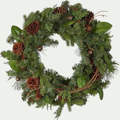 Couronne de Noël en pin synthétique - vert D61cm-TINEL