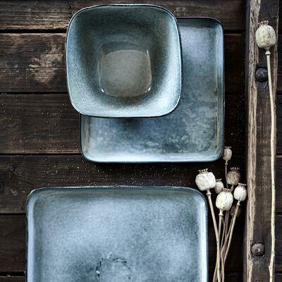 Assiette plate carrée en grès bleu 27x27cm-BINH
