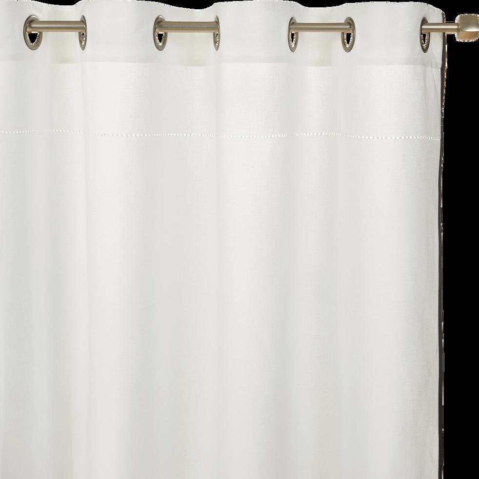 Rideau en lin et coton blanc frise ajourée 140x250 cm-BANDOL